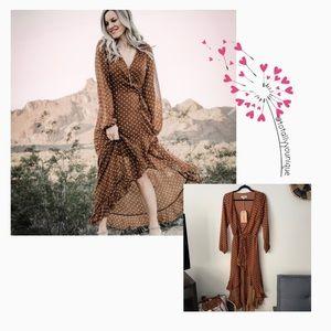 NWT Listicle Brown Polka Dot Maxi Wrap Dress